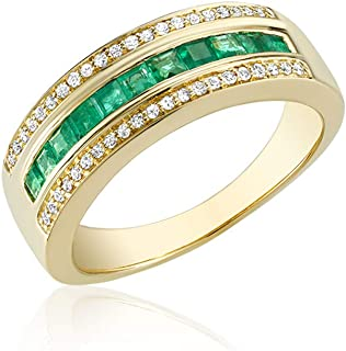 10K Gold Diamond and Genuine Emerald Ring (0.15TDW H-i Color,I1 Clarity) Size 6 (yellow gold, emerald)