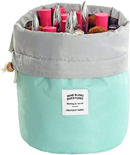 Travel Cosmetic Bags Barrel Makeup Bag,Women&Girls Portable Foldable Cases,EUOW Multifunctional Toiletry Bucket Bags Round Organizer Storage Pocket Soft Collapsible(Lightblue)
