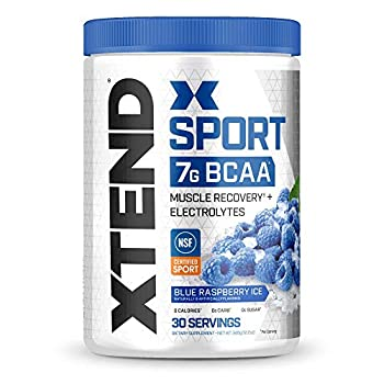 XTEND Sport BCAA Powder Blue Raspberry Ice - Electrolyte Powder for Recovery & Hydration with Amino Acids - 30 Servings