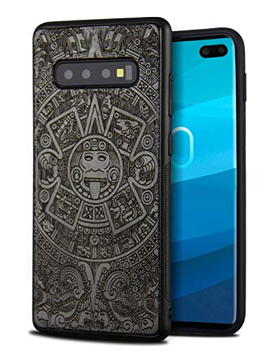 YFWOOD Wooden Galaxy S10 Plus Case, Cool Wood Engraving Totem Design Ultra Slim Bumper for Samsung Galaxy S10 Plus