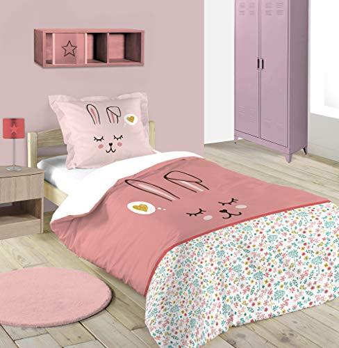 Lovely Casa – Funda nórdica de 140 x 200 cm y 1 Funda de Almohada de 63 x 63 cm, diseño de piñón, Color Rosa