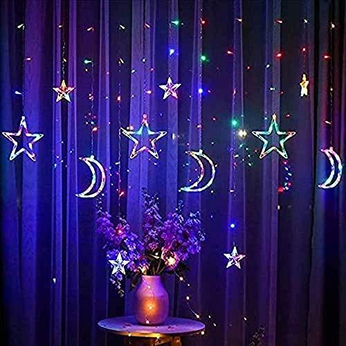XiuLi Luces de Hadas LED 3.5M Luces de Cortina de Estrella y Luna LED Guirnalda Lámpara Decorativa para Boda Hogar Jardín Decoración de Cortina de Ventana de Navidad (Multicolor)