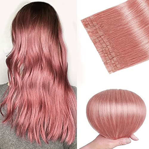 Tape in Hair Extensions Pink 100% Remy Human Hair Extensions Silky Straight for Fashion Women 20 Pcs/Package(20Inch #Pink 50g)