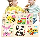Dancepandas Puzzles de Madera Educativos para Bebé 8 Piezas Rompecabezas de Animales Wooden Jigsaw Puzzle,Juguetes Educativos Regalo Educativo para Niños de 1 2 3 Años