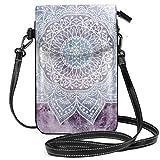 Bolso cruzado pequeño con diseño de mandala, color morado profundo y ligero, para teléfono celular, para mujeres y niñas, con práctico transporte