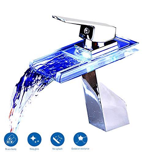 SUGU Wasserhahn Bad led Armatur Waschbecken Wasserfall Einhebelmischer Waschtisch Waschtischarmatur Mit Temperatursensor Wasserkraft Glasauslauf