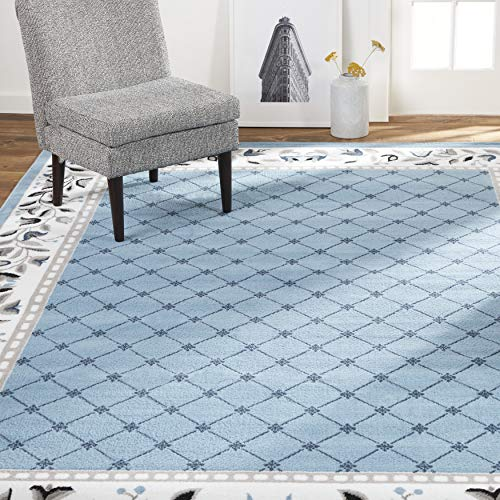 Light blue modern farmhouse area rug