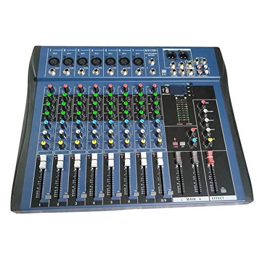 Sunnyflowk CT8 8 Kanal professionelle Stereo Mixer Live-USB-Studio Audio Sound-Konsole Netzwerk Anchor Gerät Vocal Effektprozessor (schwarz)