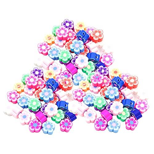 F Fityle 100 piezas de abalorios de flores de arcilla polimérica de colores para pendientes, pulseras, manualidades, fabricación de joyas, correas de teléfono,