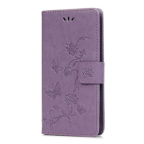 Huawei P Smart Phone Case, PU Leather Flip Notebook Wallet Cover Embossed Lotus Butterfly with Stand Card Holder ID Slot Folio TPU Bumper Protective Skin Case for Huawei P Smart/Enjoy 7S Light Purple