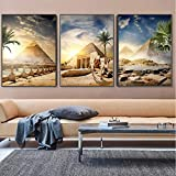 BINGJIACAI Pirámide Egipto desierto Oasis atardecer paisaje cartel impresión lienzo pintura pared arte imágenes sala de estar decoración del hogar-40x60cmx3 sin marco