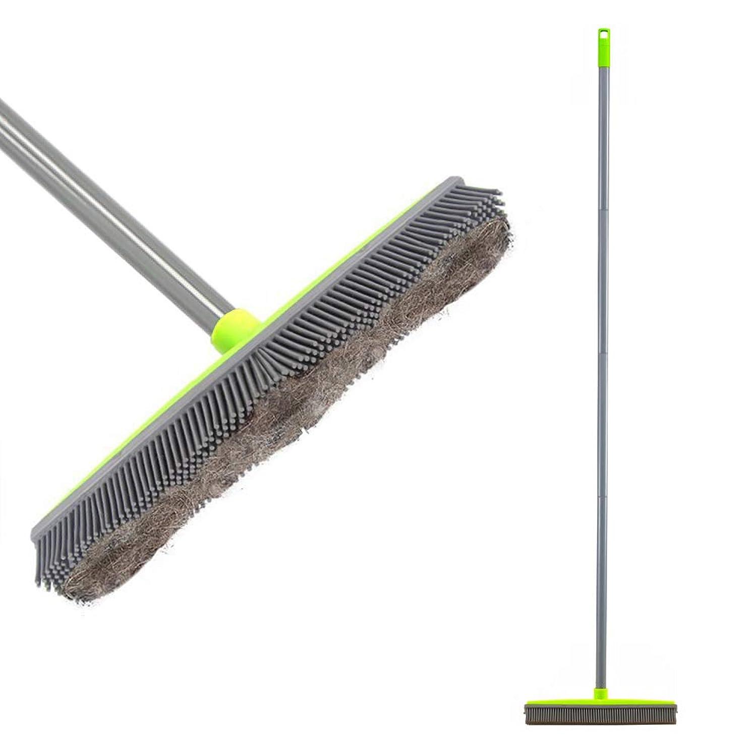 他の場所地中海文句を言うLandHope ゴムほうき 150CM長さハンドル カーペット掃除ブラシ ペットの毛 ほこり 木製床ブラシ 掃除用品