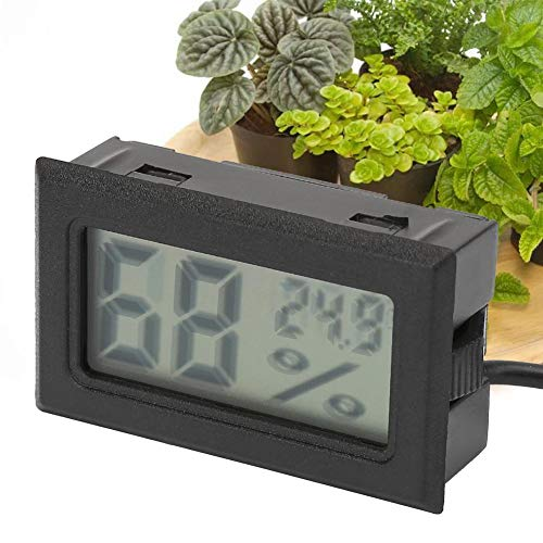 Hoge precisie vierkante digitale temperatuur-vochtigheid thermometer hygrometer hygrothermograaf met sonde 1,5 m kabel (zwart)