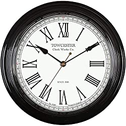 Vintage style wall clock Metal case with glass lens Clear easy to read Roman dial Metal hands and quartz movement Dimensions: 300mm diameter. Requires 1 x AA battery (not included)