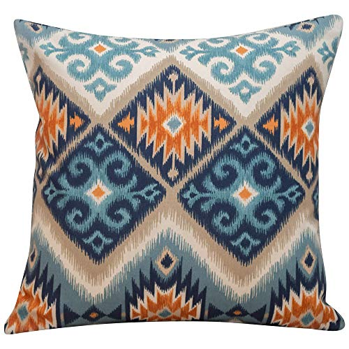 Linen Loft Printed Navajo Kilim Style Cushion Cover. Teal Blue and Burnt Orange Abstract Geometric Design. 17'x17' (43cm) Square Pillow Case, 100% Cotton, Double Sided. Native American Style.