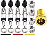 17-Teile Fahrradventil-Ersatz komplett-Set: 4x Fahrrad-Ventile Dunlop Blitzventil Einsatz, AV-Adapter Auto-Ventil Luft-Pumpe Aufsatz, Ventilkappen Nuss Mutter, Standard Normal-Ventil NV DV BV Ventile