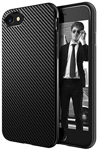 AVANA Schutzhülle Kompatibel mit iPhone SE 2020 / iPhone 8 / iPhone 7 Hülle Slim Case Schwarz Bumper Handyhülle Silikon TPU Kratzfest Kohlefaser Cover Carbon Optik
