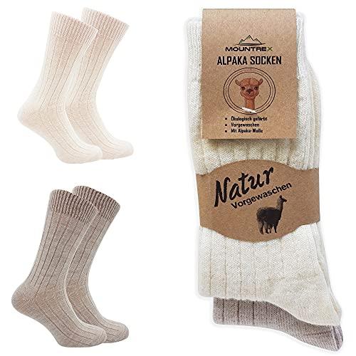 MOUNTREX Alpaka Socken, Wollsocken für Damen, Herren - Wintersocken, Kuschelsocken - 90% Wolle, 10% Polyamid - 2 Paar, Ecru/Beige (Dünn), 39-42