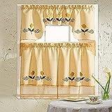 Daniel's Bath & Beyond Embroidery Kitchen Curtain with Scarf, 30' x 36'/30' x 36'/60' x 36', Glory Peach, 3 Piece