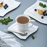 MALACASA, Serie Amparo, 18 teilig Set Porzellan Kaffeeservice Dessertteller Kaffeetasse mit Untertasse für 6 Personen - 3