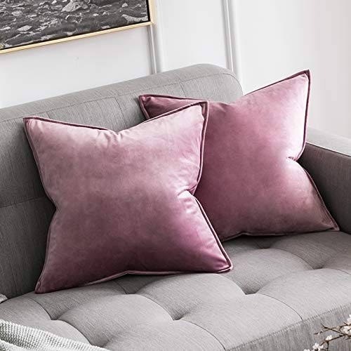 MIULEE Pack of 2 Velvet Soft Decorative Square Throw Pillow Case Flanges Cushion Covers Pillowcases for Livingroom Sofa Bedroom with Invisible Zipper 45cm x 45cm 18x18 Inch Set of Two Pink Purple