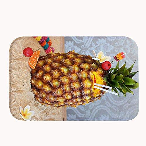 """rioengnakg Drink Ananas Saft auf der Beach Badvorleger Coral Fleece Bereich Teppich Fußmatte Eingang Teppich Fußmatten für Vorderseite Außen Türen Eintrag Teppich, Korallenvlies, 20\"""" x 32\""""(50 x 80cm)"""