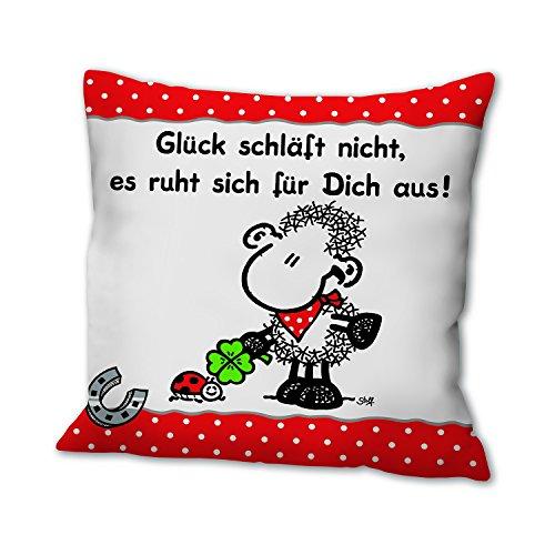 Sheepworld 43051 Baumwoll-Kissen mit Spruch Glück schläft nicht, es ruht sich für Dich aus, Zier-Kissen, 40 cm x 40 cm
