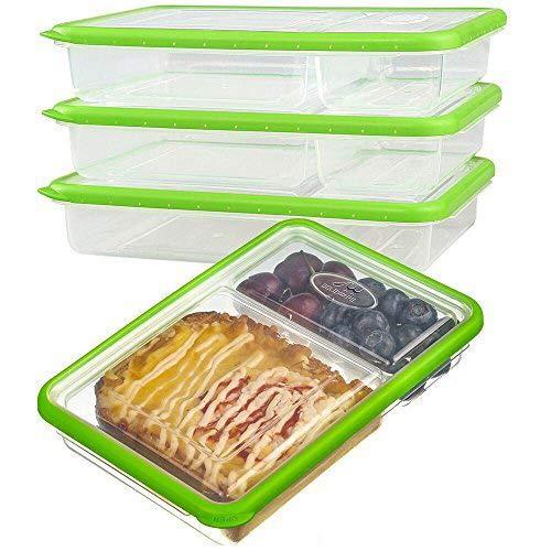 Plastico Contenedor Alimentos Hermetico - Juegos de Recipientes Comida Microondas - Apilables Fiambreras Bento 2-compartimentos - Tapers para comida almuerzo,100{d20781353bad0abd2d6e7588a6b3cc536c8283b7a89eff6c76360544b3274ba6} sin bpa (Set de 3, 2.04L, Verde )