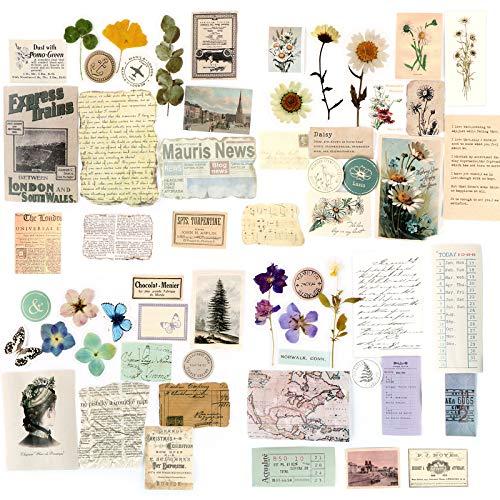 60 Pcs Kleine Scrapbooking Papier Vintage Scrapbooking Zubehör Dekopapier Scrapbooking mit vielen Motiven für Tagebuch Notizbuch DIY Kunst und Handwerk