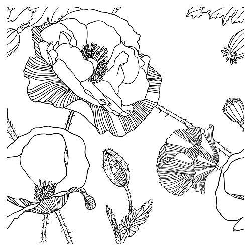murando Tapete selbstklebend 10m Wandtattoo dekorative Möbelfolie Dekorfolie Fotofolie Panel Wandaufkleber Wandposter Wandsticker - Blumen Mohn schwarz weiß b-B-0392-j-a