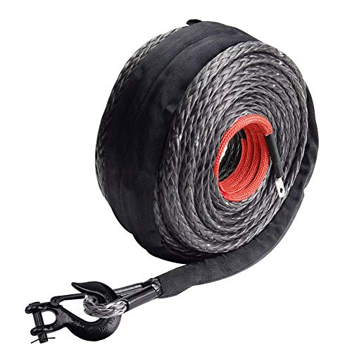 """Ayleid Synthetic Winch Rope100' x 3/8"""" Winch Line Cable 20500 LBS with Protective Sleevefor 4WD UTV ATV"""