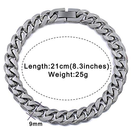 Armbänder Armreif,Schmuck Geschenk,Jewelry Men Bracelet Cuban Links & Chains Stainless Steel Bracelet for Bangle Male Accessory Wholesale B284 9mm Silver Color 21cm