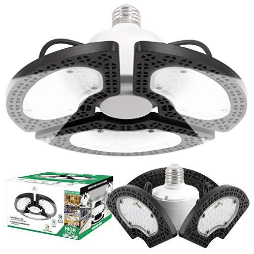 2 Pack LED Garage Lights, Super Bright 9600LM 80W Adjustable LED Garage Ceiling Lights with E26 Screw Base, 6000K LED Shop Lights Deformable Lighting for Garage Basement High Bay Light Warehouse