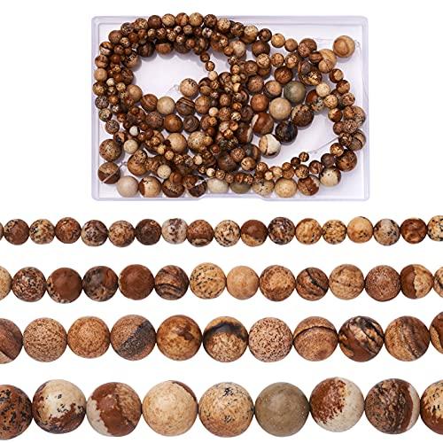 Cheriswelry 4 hebras de perlas de jaspe de imagen natural, cuentas sueltas...