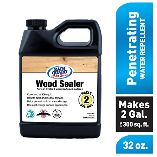 Rain Guard Water Sealers SP-8002 Wood Sealer Concentrate - Water Repellent for Interior or Exterior Wood - Covers up to 400 Sq. Ft, 32 oz Makes 2 gallons, Invisible Clear