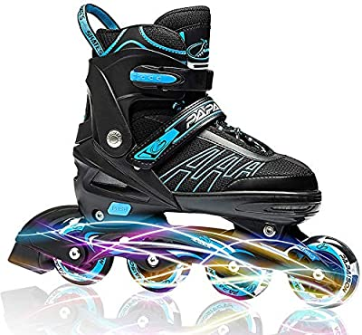 ITurnGlow Adjustable Inline Skates for Kids and Adults, Roller Skates with Featuring All Illuminating Wheels, for Girls and Boys, Men and Ladies