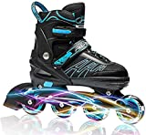 ITurnGlow Adjustable Inline Skates for Kids and Adults, Roller Skates with Featuring All Illuminating Wheels, for Girls and Boys, Men and Ladies Blue Size M