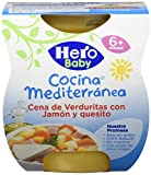 Hero Baby Cocina Mediterránea Cena Potito de Verduras con Jamón y Quesito para bebés a partir de 6 meses Pack 2 x 200 g