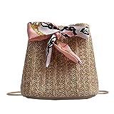 Paja que teje hombro mensajero Bolsos de las mujeres Casual Bucket Crossbody Bag