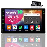 Double Din Touch Screen Auto Stereo CAR Radio Audio with Backup Camera Bluetooth GPS Navigation Android 7 inch Touchscreen 2 Din Head Unit in Dash Multimedia Player with WiFi Mirrorlink 1080p USB SWC