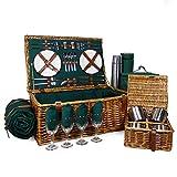 Regal - Cestino da picnic in vimini per 4 persone, con accessori inclusi, ideale per compleanno, anniversario di matrimonio, lavoro, aziendale e ringraziamento