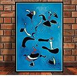 Pinturas Arte Cartel E Impresiones Arte De La Pared Joan Miro Famoso Moderno Abstracto Retro Lienzo Cuadros De Pared para Sala De Estar Decoración del Hogar 50 × 70 Cm Sin Marco
