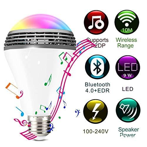 Preisvergleich Produktbild SINOTECHQIN Intelligente Glühlampe mit Bluetooth-Lautsprecher,  App-kontrollierte LED-Lampe,  dimmbare Glühlampe,  E27 9W,  kein Hub erforderlich