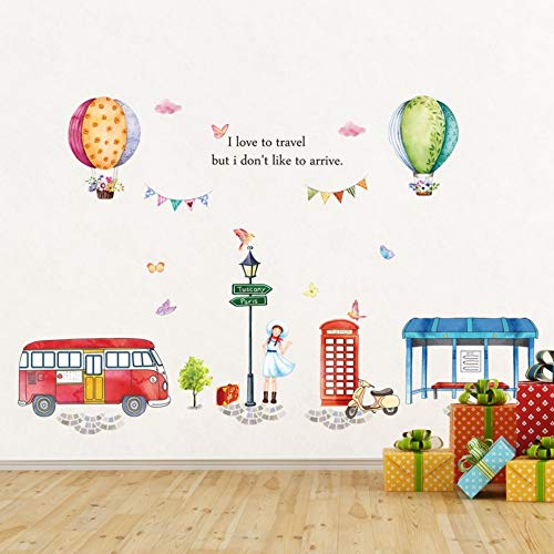 Muurstickers Cartoon Slaapkamer Kinderen Kamer Warmgearrangeerd Leuke Bus Station Ballon Muurstickers Decoratieve Stickers