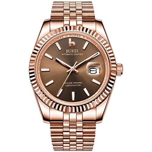 BUREI Mens Luxury Automatic Watches 24 Dial Analog Calendar Window Display Saphirglas mit Roségold-Edelstahlband
