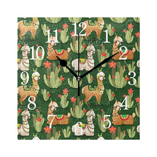 GIGIJY - Reloj de pared cuadrado, diseño de llamas y cactus, silencioso, sin tictac, para el hogar, salón, cocina, dormitorio, escritorio, oficina, escuela