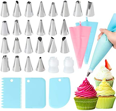 31pcs Frosting Tips and Bags Frosting Bags Pastry tips Pastry Bags Reusable With Tips Piping product image