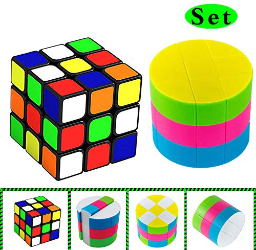 Speed Cube Set Super Cylinder Cubes Education Toys | Amazing Smart Cube Brain Teasers Puzzle Toys Game Sticker Smooth Twist Vivid Colors Gift Puzzles Toy Anti Stress Anti-anxiety Adults for Kids Adult