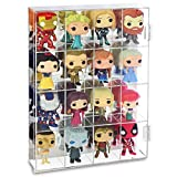 Ikee Design Acrylic Display Rack Organizer Storage Box Dustproof for Figure Display Any Action Toys and Mini Figures and Vinylmation lot, Rock Stone, with Mirrored Back & 16 Compartments