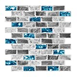 FlockenHome 3-Sheet Mosaic Glass Teal Light Blue Marble Backsplash Wall Tile Patterns for Kitchen Bathroom Self-Adhesive Backsplash in Sapphire 12'X12'